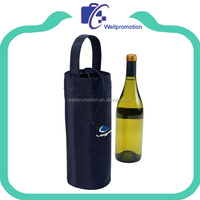 Portable cylinder insulated polyester bottle cooler bag for wine