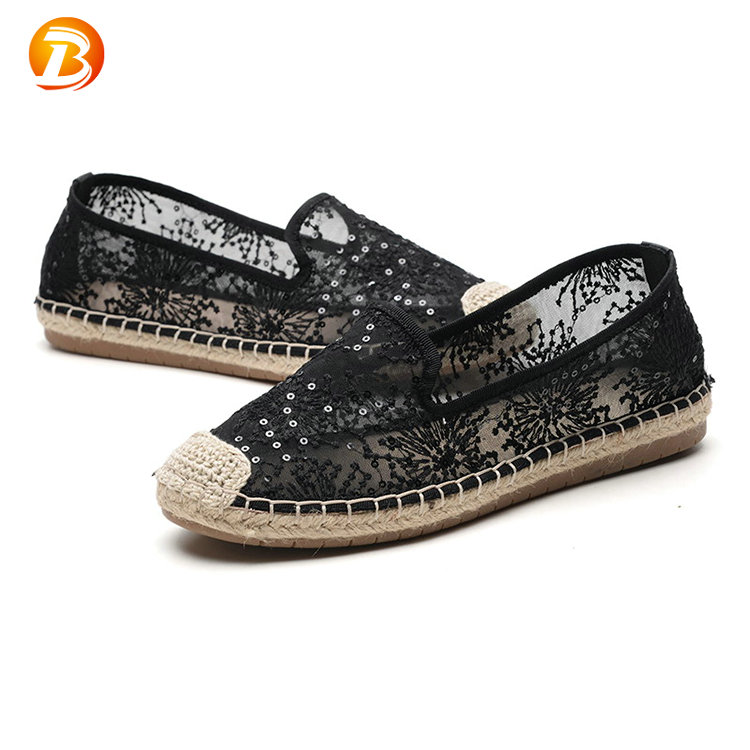 Stock product cheap creative summer black platform casual lace ladies shoes