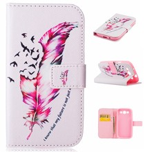 2016 new design TPU+Leather Painted Case for Samsung s3 flip cover case wallet case with stand function IMD craft card holder