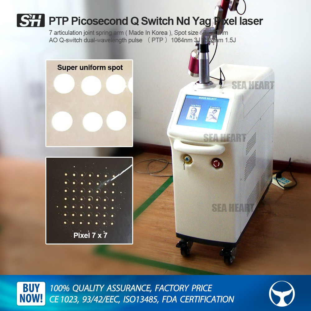 Dual-pulsed Picosecond Q Switch Nd Yag laser with Lens Array for tattoo removal