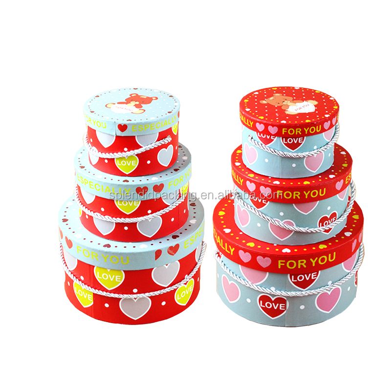 Online Shopping India Wholesale Gift Box Kids Party Cake Printing With Lovely Logo Promotion Round Flower Box