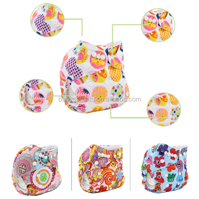 PSF178 Free Sample Cartoon Print Reusable Ecological Cloth Baby Diapers, Wholesale Washable Diapers