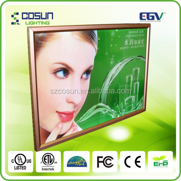 Aluminum battery powered slim picture frame led light box