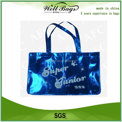 Hot sell Blue Color Metallic shopping bag non woven, reusable bag