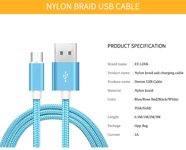 1M Usb Type c Nylon Braided Cable In Blue