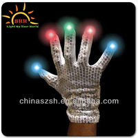 Shenzhen factory light up LED gloves with colorful lights for New Year party