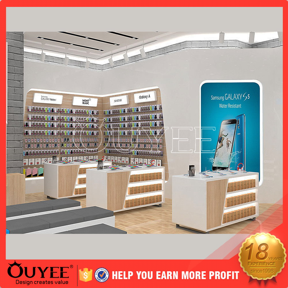 ouyee 281 new design mobile phone shop fitting cosmetic counter display