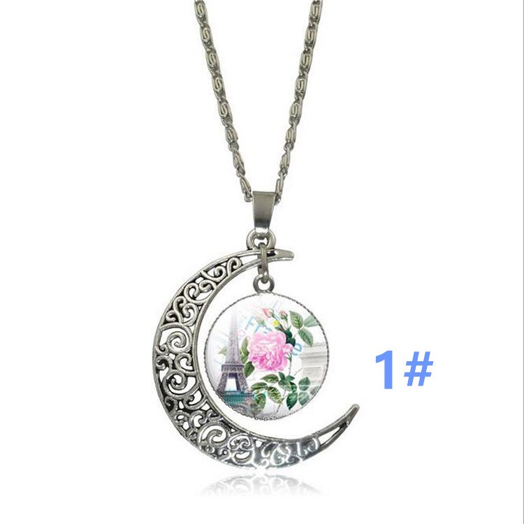 Romantic Eiffel Tower Galaxy Crescent Moon Necklace