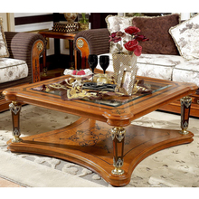 YB29 Antique Solid Wood Luxury hand carved living room furniture glass top square coffee table
