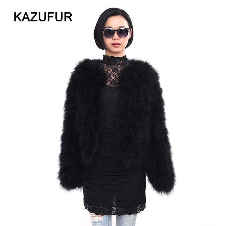 Fashion Styles Real Feather Jacket For Women Trendy Style Thick Turkey Fur Coat