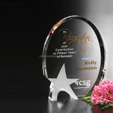 Fashion design wholesale laser engraved oval crystal trophy awards with star entched as business honor plaque