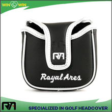 Golf putter cover mallet PU leather square magnetic logo embroidery golf headcover