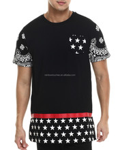 OEM 2015 new style summer black special print elongated T-shirt
