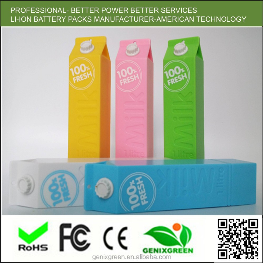2015 new products mobile 2600mah power bank' milk box travel charge power bank 2600mah adopt 48hours aging test