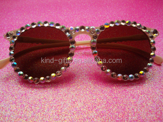 New style eye-catching colorful rhinestone crystal sun glasses
