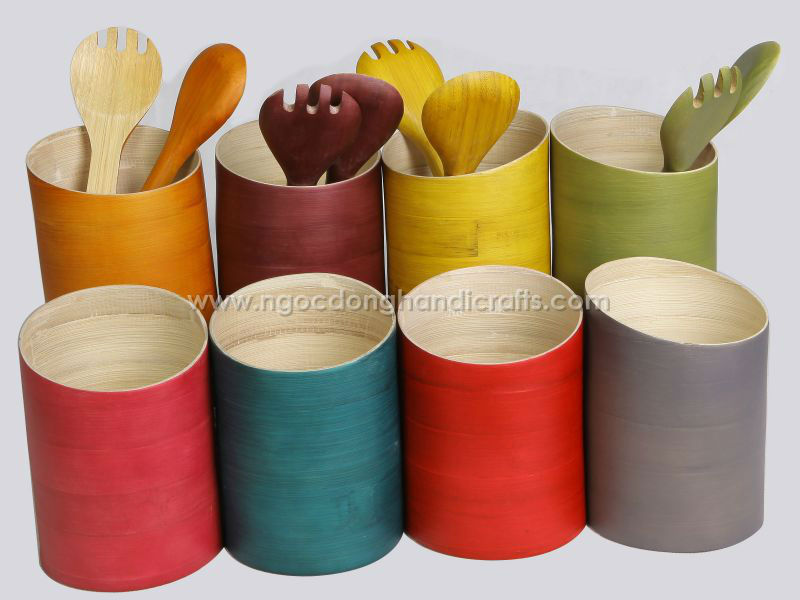 ND5342 Spun bamboo utensil holder