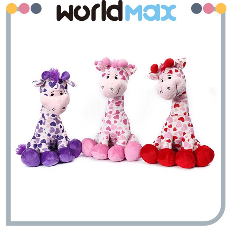New Arrival Soft Cartoon Plush Toy Heart Giraffe For Baby