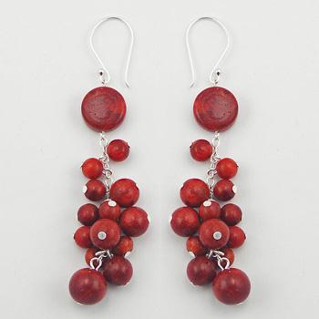 Silver Coral Earrings Red Sponge Coral Cluster Danglers