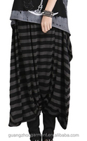 women baggy hippie horizental stripe pants trouser loose long harem pants