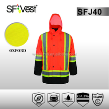 reflective safety apparel hi visibility bomber jacket for men with 300D oxford PU coated confirms to CSA Z96 Class 3
