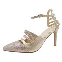 women elegant pointed toe glitter wedding ankle strap high heel dress shoes
