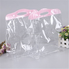 Transparent PVC bag, button closure plastic cosmetic pouch, plastic ziplock cosmetic pouch