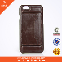 PU leather case for iphone 6 With card slot side standing , mobile phone case cover