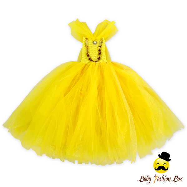 Gold Yellow Ball Gown Tulle Wedding Dresses Boutique Child Formal Flower Girl Dress