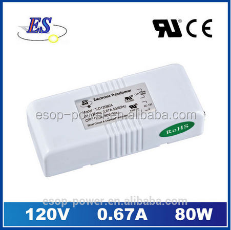 80W 12V 0.87A AC to AC Electronic Transformer Power Supply for Down light with UL CUL