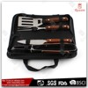 Mini easy carry outdoor rose wood bbq 4pcs BBQ Tool Set