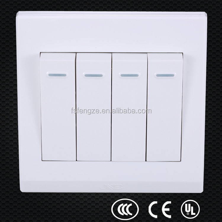 PC material white 4 gang power outlet, level switch, 4-way toggle switch