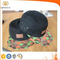 Custom Leather Strap 5 Panel Hat/Hats With Leather Patch