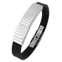 Men's Permanent Stainless Steel Engraved Lines Bracelet Jewelry