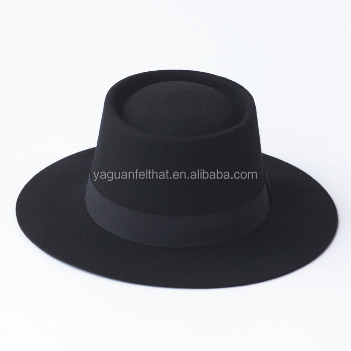 Ladies' fashion 100% wool felt flat top panama style hat. fedora hat
