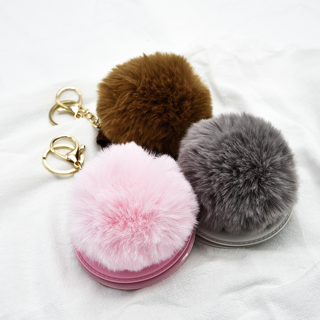 China Made Key chain with Cosmetic Mirror charms rabbit fur