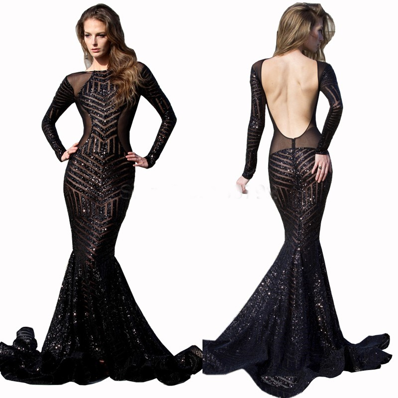 floor -length elegant sequin backless long sleeve maxi dress floor length mermaid dress