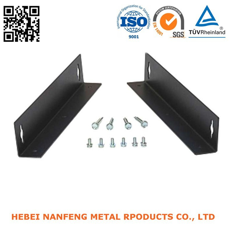 Manufacturing metal bending steel corner bracket with nuts