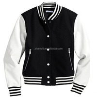 Wholesale Blank Men's Blue Black White Wool American Varsity Jacket