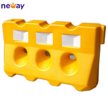 HDPE material 3 holes yellow plastic road barrier