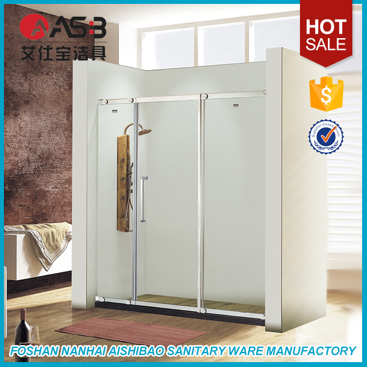 modern 3 panel 8mm Tempered Glass luxury shower stalls with bad
