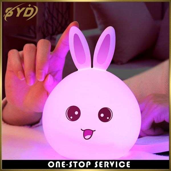 cute rabbit seven colors silicone led night light remote control pat night lamp