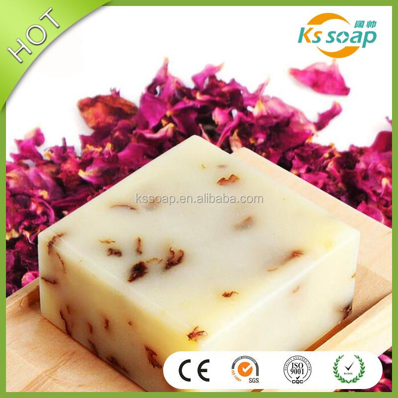 100g OEM cold process rose petals whitening handmade soap