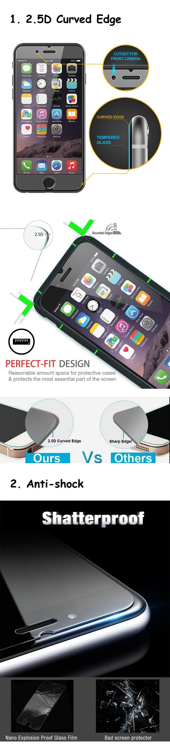 Factory price mobile films glass screen protector 9H premium tempered screen protector for iphone 6