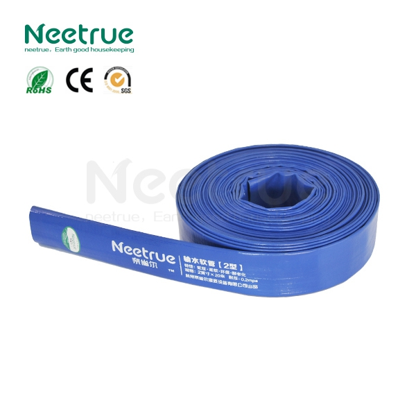 Blue flexible light duty irrigation industry manufacture pvc layflat discharge hose
