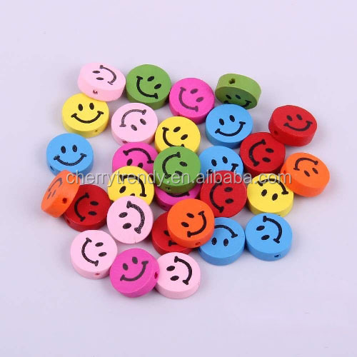 Mixed Color Smiley Face Wood Beads Kids Cute Crafts Bead