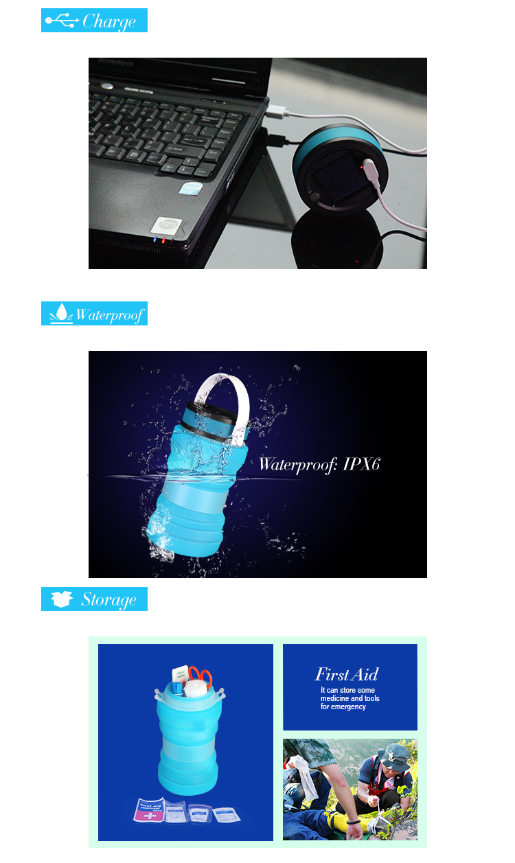 Multi-function waterproof and floding camping equipment / Solar camping lantern or tent light / Water bottle or water lifts