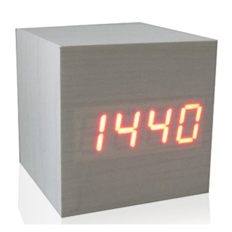 zogift Hot fashion Home decor led wood clock portable cube led alarm clock with thermometer/USB and battery supply