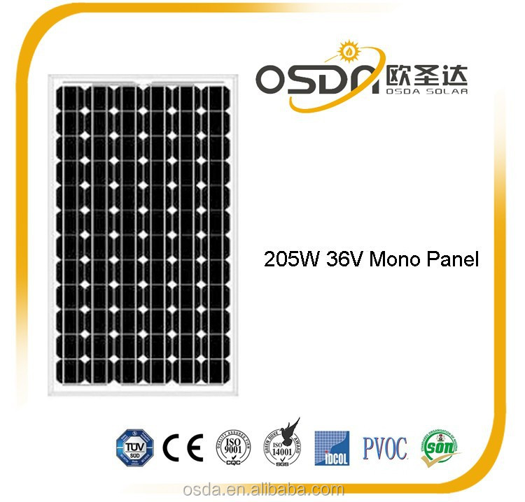 205W mono solar Panel with 125x125 cells CE TUV