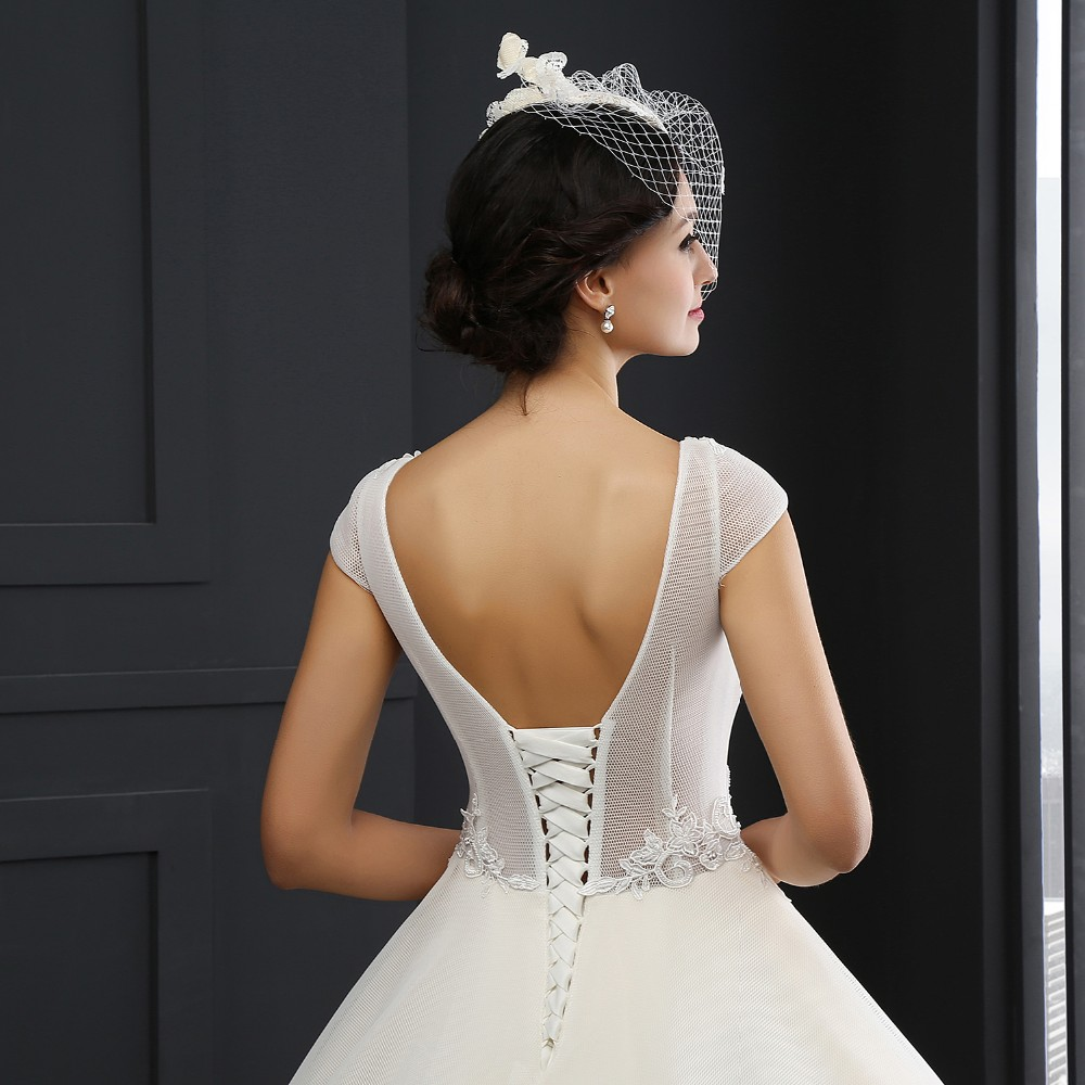 SL-3005 O-neck Cap Sleeve Appliques Lace Up Wedding Dress