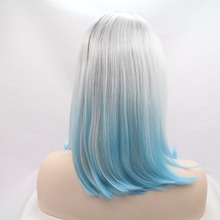 High Quality Synthetic Hair Light Blue Mixed Grey Ombre Color Lace Front Synthetic Wig